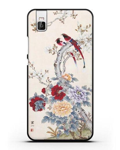Чехол Цветы и птицы силикон черный для Huawei Shot X