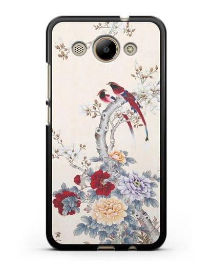 Чехол Цветы и птицы силикон черный для Huawei Y3 2017