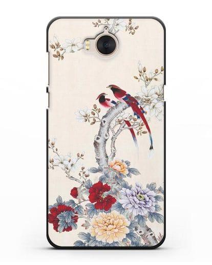 Чехол Цветы и птицы силикон черный для Huawei Y5 2017