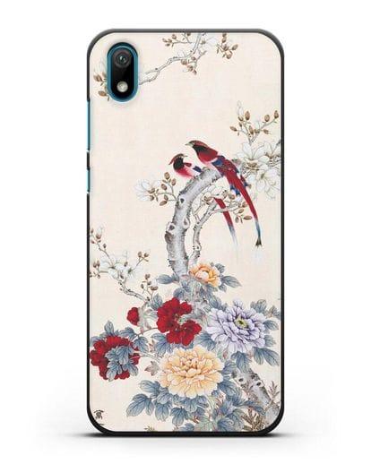 Чехол Цветы и птицы силикон черный для Huawei Y5 2019