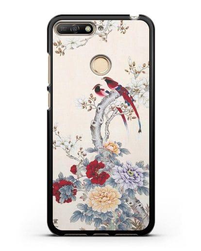 Чехол Цветы и птицы силикон черный для Huawei Y6 Prime 2018