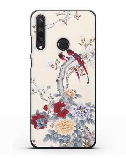 Чехол Цветы и птицы силикон черный для Huawei Y6P
