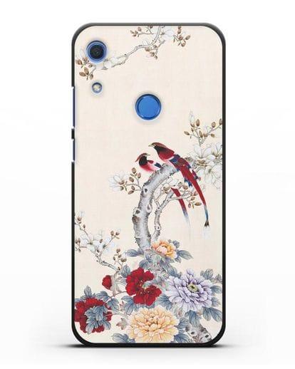 Чехол Цветы и птицы силикон черный для Huawei Y6s