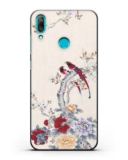 Чехол Цветы и птицы силикон черный для Huawei Y7 2019
