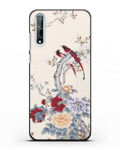 Чехол Цветы и птицы силикон черный для Huawei Y8P