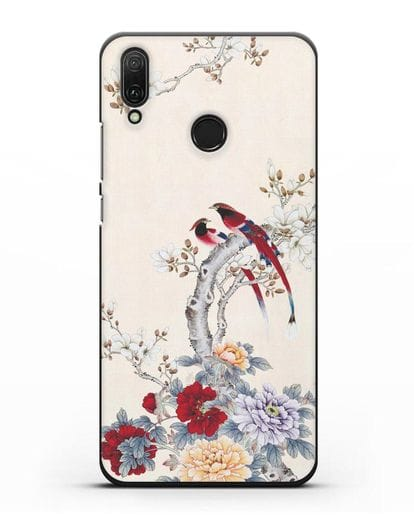 Чехол Цветы и птицы силикон черный для Huawei Y9 2019