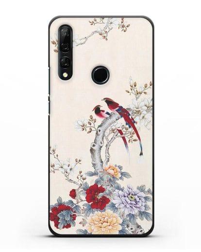 Чехол Цветы и птицы силикон черный для Huawei Y9 Prime 2019