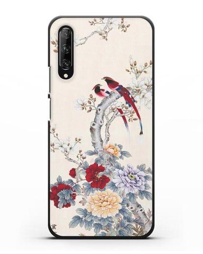 Чехол Цветы и птицы силикон черный для Huawei Y9s
