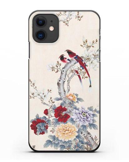 Чехол Цветы и птицы силикон черный для iPhone 11