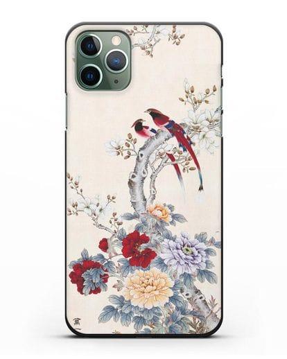 Чехол Цветы и птицы силикон черный для iPhone 11 Pro