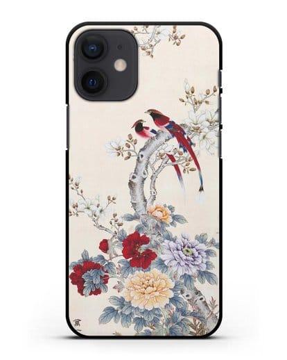 Чехол Цветы и птицы силикон черный для iPhone 12 mini