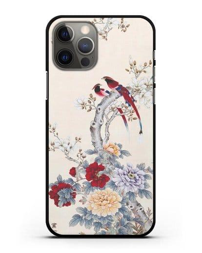 Чехол Цветы и птицы силикон черный для iPhone 12 Pro