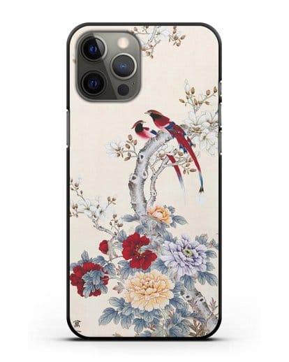 Чехол Цветы и птицы силикон черный для iPhone 12 Pro Max