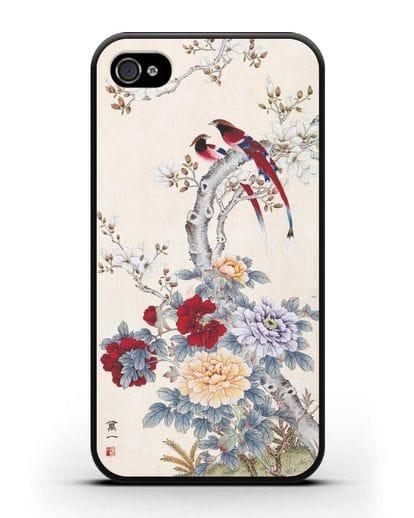 Чехол Цветы и птицы силикон черный для iPhone 4/4s
