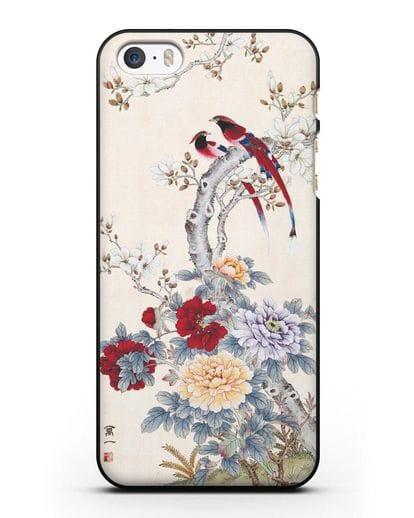 Чехол Цветы и птицы силикон черный для iPhone 5/5s/SE