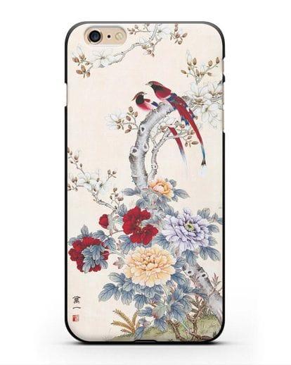 Чехол Цветы и птицы силикон черный для iPhone 6 Plus