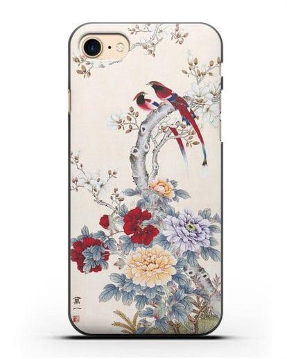 Чехол Цветы и птицы силикон черный для iPhone SE 2020