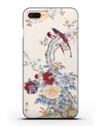 Чехол Цветы и птицы силикон черный для iPhone 7 Plus