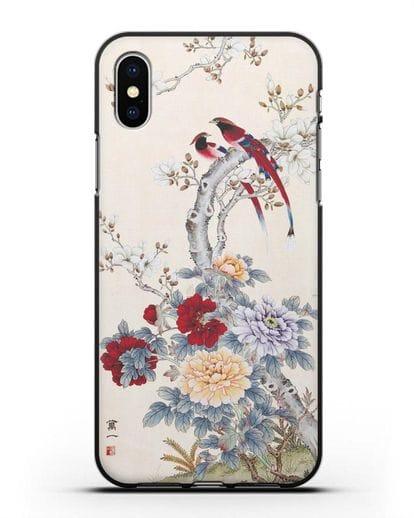 Чехол Цветы и птицы силикон черный для iPhone X