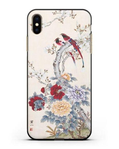 Чехол Цветы и птицы силикон черный для iPhone XS Max