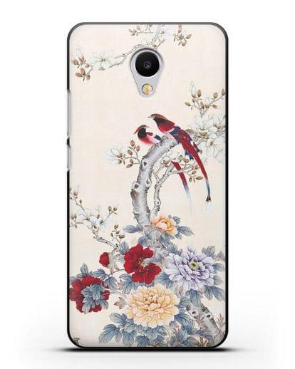 Чехол Цветы и птицы силикон черный для MEIZU M3s mini