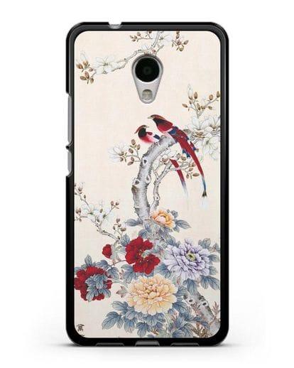 Чехол Цветы и птицы силикон черный для MEIZU M5s
