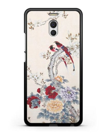 Чехол Цветы и птицы силикон черный для MEIZU M6 Note