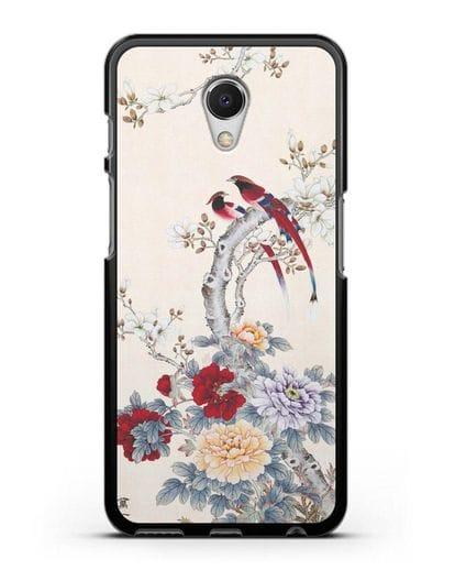 Чехол Цветы и птицы силикон черный для MEIZU M6s