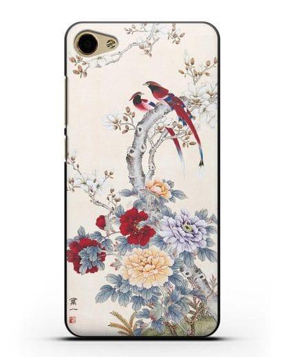 Чехол Цветы и птицы силикон черный для MEIZU U10