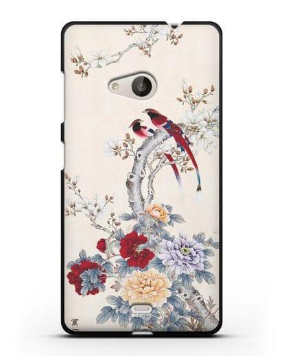 Чехол Цветы и птицы силикон черный для Microsoft Lumia 535