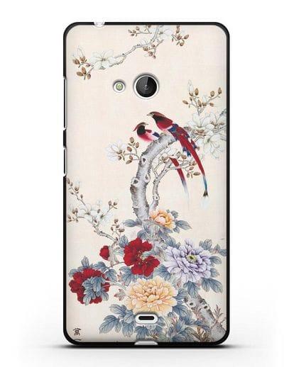 Чехол Цветы и птицы силикон черный для Microsoft Lumia 540