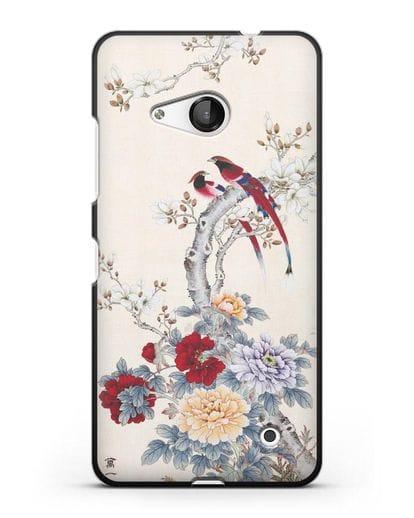 Чехол Цветы и птицы силикон черный для Microsoft Lumia 550