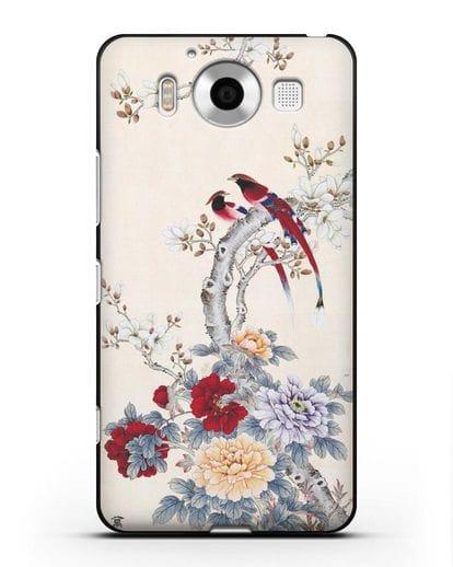 Чехол Цветы и птицы силикон черный для Microsoft Lumia 950