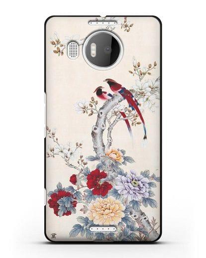 Чехол Цветы и птицы силикон черный для Microsoft Lumia 950 XL