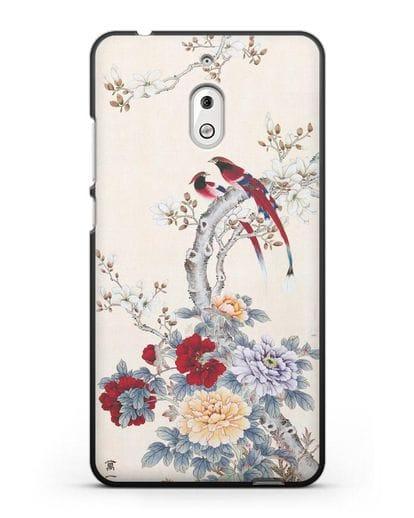 Чехол Цветы и птицы силикон черный для Nokia 2.1