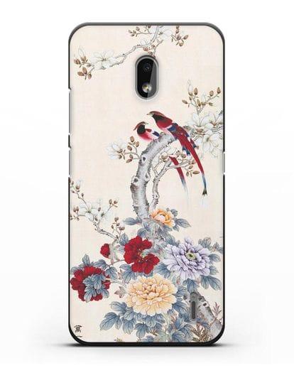 Чехол Цветы и птицы силикон черный для Nokia 2.2 2019