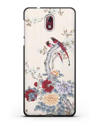 Чехол Цветы и птицы силикон черный для Nokia 3.1