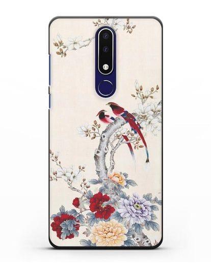 Чехол Цветы и птицы силикон черный для Nokia 3.1 plus