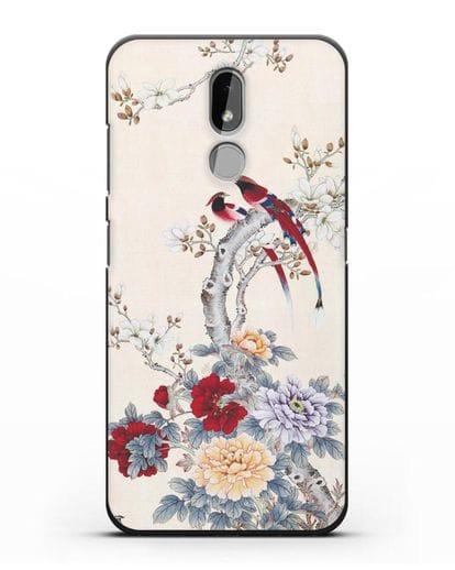 Чехол Цветы и птицы силикон черный для Nokia 3.2 2019