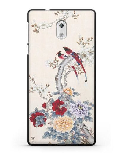 Чехол Цветы и птицы силикон черный для Nokia 3