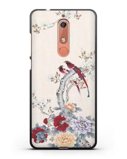 Чехол Цветы и птицы силикон черный для Nokia 5.1