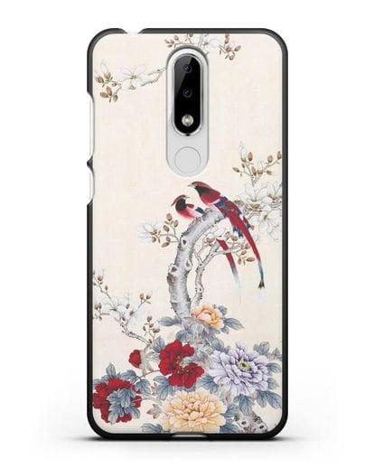 Чехол Цветы и птицы силикон черный для Nokia 5.1 plus