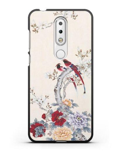 Чехол Цветы и птицы силикон черный для Nokia 6.1 plus