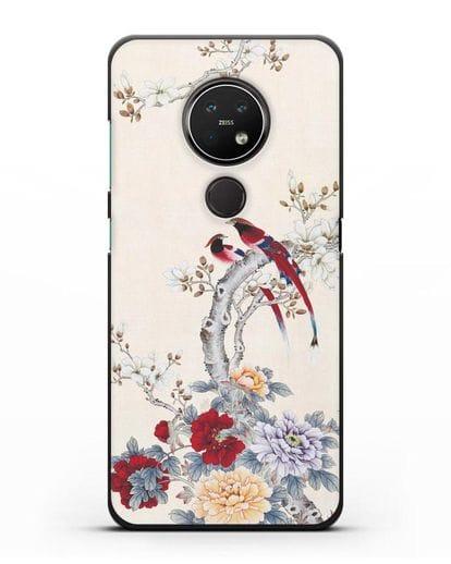 Чехол Цветы и птицы силикон черный для Nokia 6.2 2019
