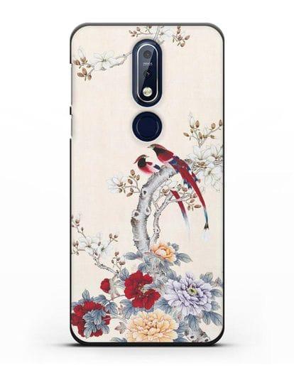 Чехол Цветы и птицы силикон черный для Nokia 7.1