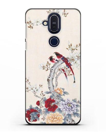 Чехол Цветы и птицы силикон черный для Nokia 7.1 plus