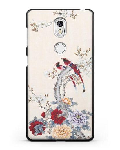 Чехол Цветы и птицы силикон черный для Nokia 7