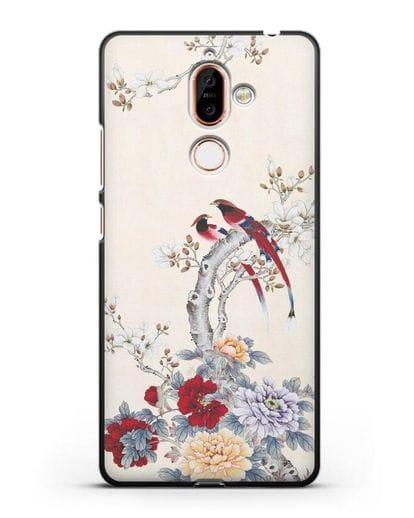 Чехол Цветы и птицы силикон черный для Nokia 7 plus