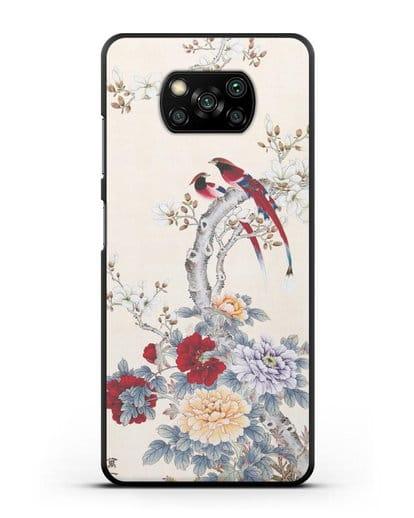 Чехол Цветы и птицы силикон черный для Xiaomi Poco X3