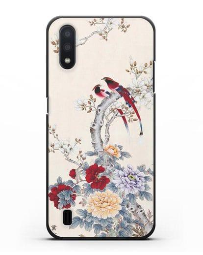 Чехол Цветы и птицы силикон черный для Samsung Galaxy A01 [SM-A015F]